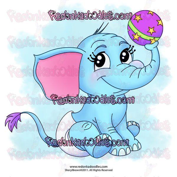 Digi stamp of baby elephant
