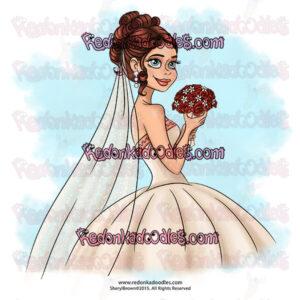 Beautiful bride digi stamp