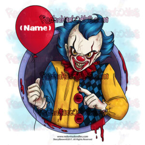 Creepy Clown Digital Stamp For Greeting Cards