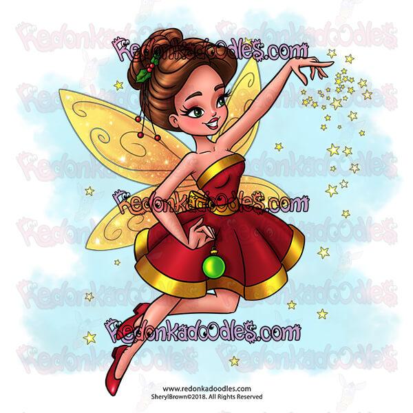 Fairy Christmas Digital Stamp