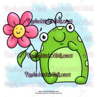 Frog Creature digital stamp for cardmaking