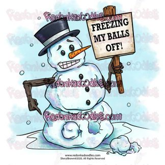 Digital Stamp of a Frozen Snowman