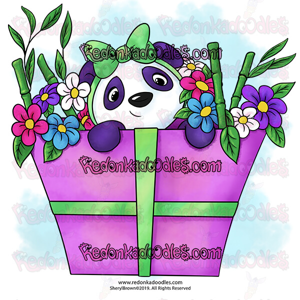 Panda Present - Digital Stamp
